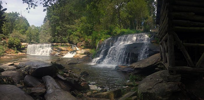 French Broad Falls and Mill Shoal Falls Waterfalls near Brevard NC