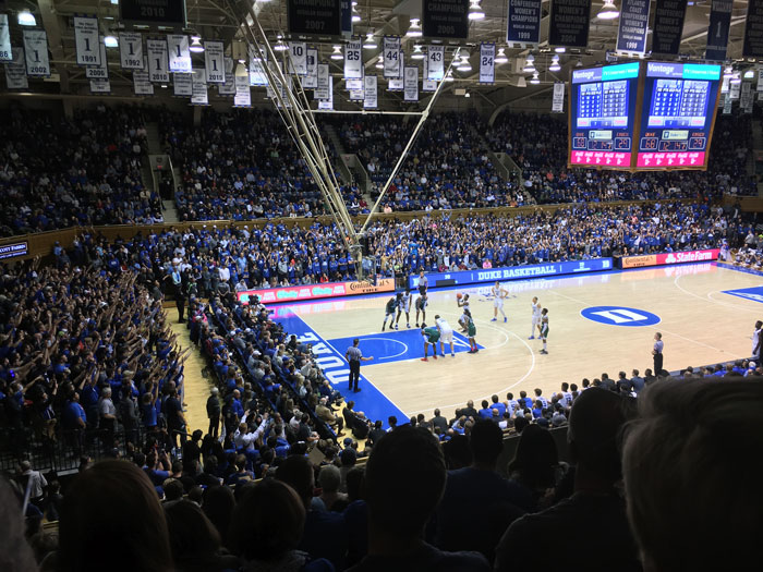 This is image is from Duke University Basketball game at Cameron Indoor Stadium in Durham NC