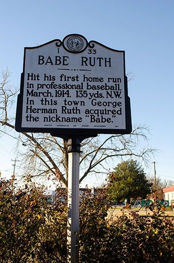 Babe Ruth Historical Marker Fayetteville NC Image