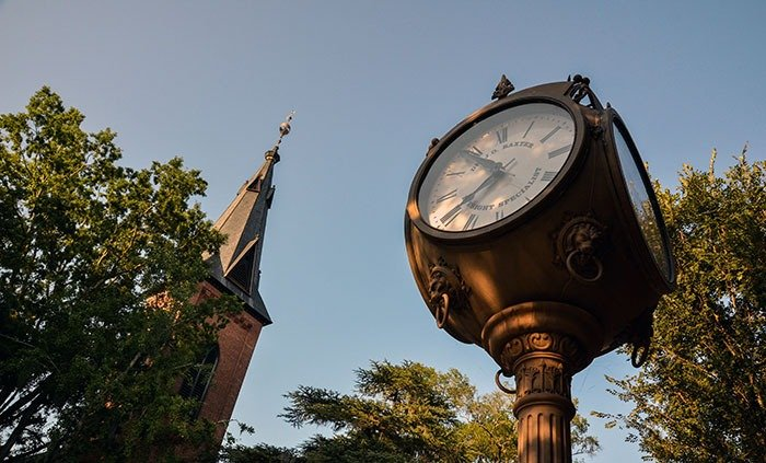 New Bern NC Clock and Church