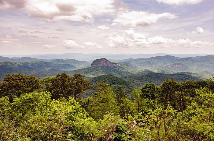 The Looking Glass Rock Overlook is across the street from access to the Skinny Dip Falls hike.