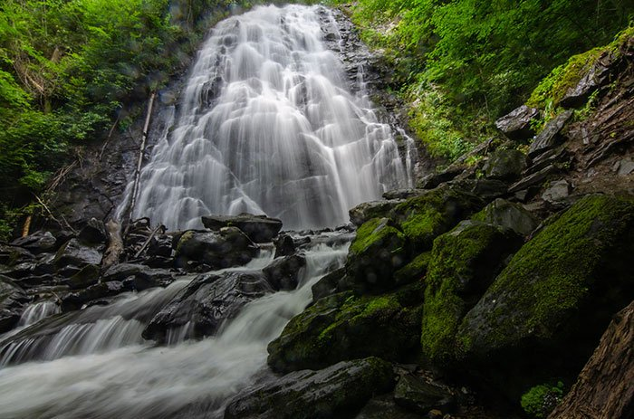 Crabtree Falls has to be hands down our favorite of the waterfall hikes near Asheville.