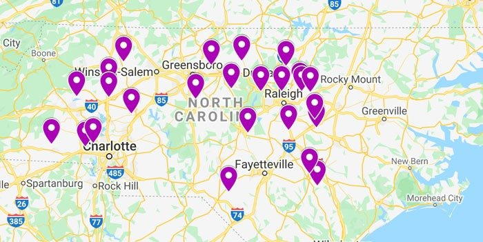 Our Map of Where to Pick Muscadine Grapes in NC Created via Google Maps